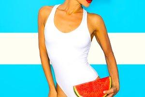 Fresh Beach Mood. girl in a stylish