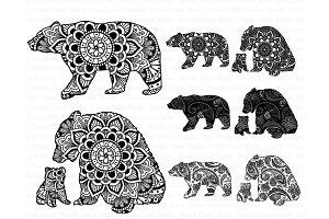 Bear Mandala SVG, Mama & Baby Bear.