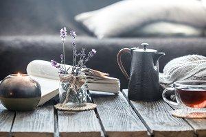 still life tea drinking in the livin