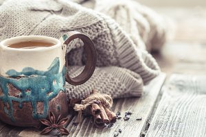 cup of tea with a sweater