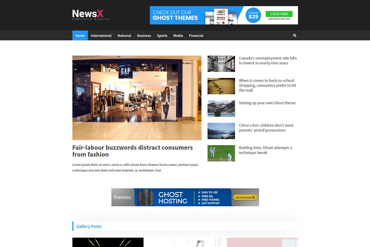 NewsX - Premium Ghost Theme