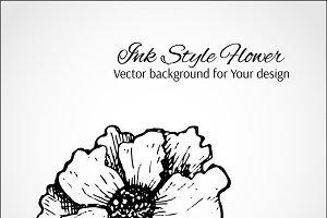 Vector ink flower card