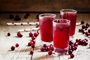Cranberry juice, selective focus