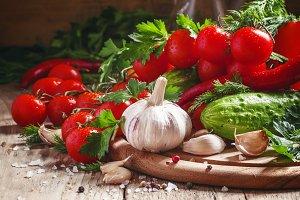 Fresh garlic, cherry tomatoes, cucum