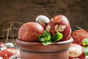 Brown easter egg with a pattern with