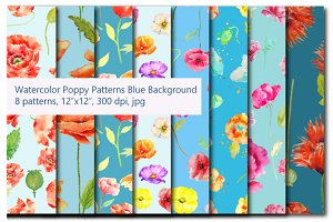Watercolor poppy Patterns Blue Theme