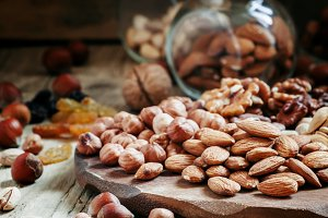 Nuts mix of pistachios, hazelnuts, w