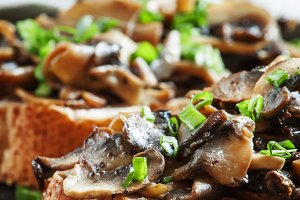 Sandwiches with mushrooms and green