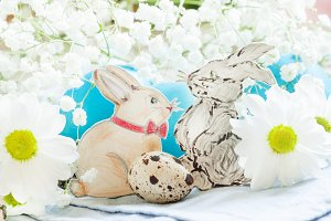 Painted Easter bunnies with white da