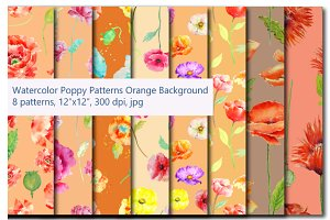Watercolor Poppy Pattern Orange