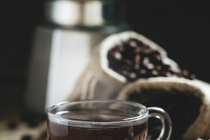 Hot espresso coffee in a glass cup,