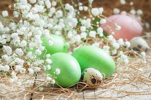 Green easter eggs on old wooden back