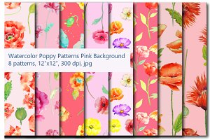 Watercolor Poppy Pattern Pink Theme