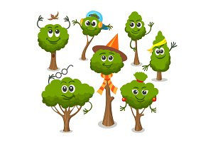 Cute trees with faces
