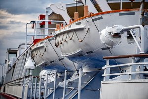 Lifeboats on a ship close-up