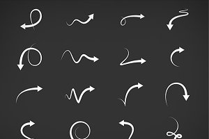 Hand drawn arrows vector set