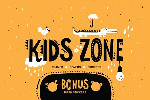 KIDS ZONE. 24 vector frames template