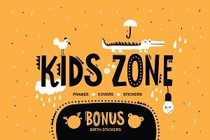 KIDS ZONE. 24 vector frames template