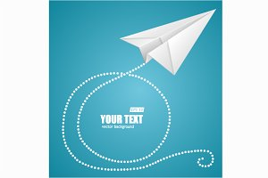 Paper plane on  sky and text box