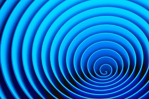 Blue circles spiral shape, optical i
