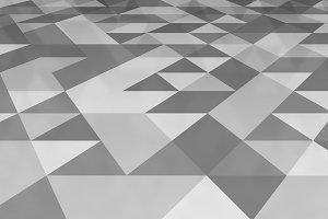 Grey triangle tiles flooring, white