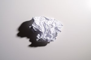 Junk or crumpled sheet of blank pape
