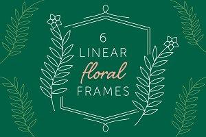 6 Linear Floral Frames