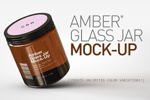 Amber Glass Jar Mock-Up