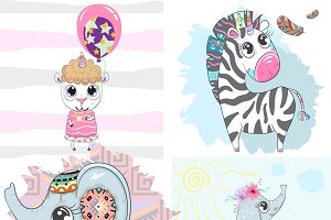 Cute animals.Zebra, Elephant,Lamb.