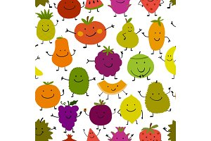 Funny fruits, seamless pattern for