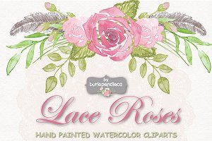 VECTOR Watercolor roses and lace