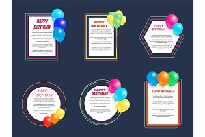 Set Happy Birthday Greetings Frame