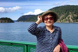 Senior woman enjoying her trip