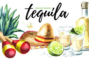 Tequila. Watercolor collection