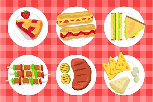 Pie and Picnic Dishes Set Vector