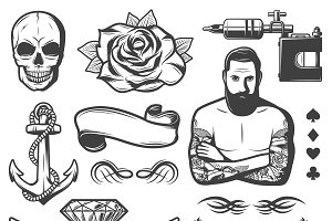 Vintage Tattoo Studio Elements Set