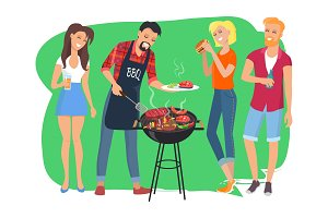 Barbecue Party and People Vector