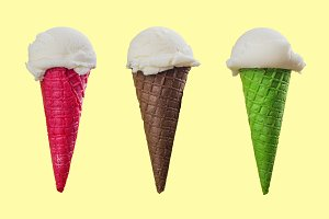Vanilla ice cream green waffle cone