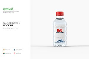 Plastic PET Bottle w/ Water Mockup
