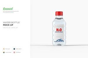 Plastic PET Bottle w/ Water Mockup
