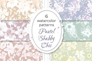 Shabby chic pastel floral patterns