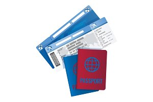 Tickets and passport for travelling