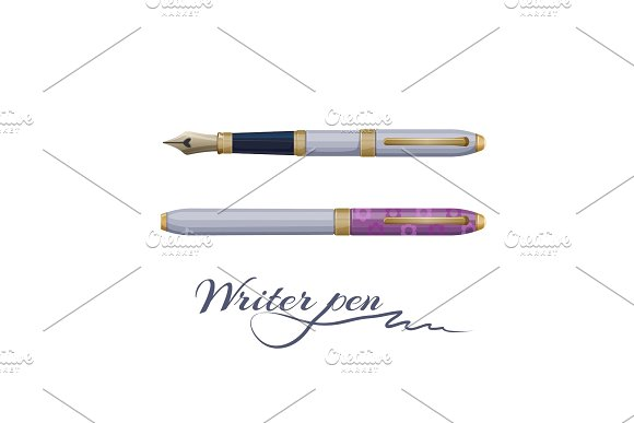 Ink fountain writer pen isolated on