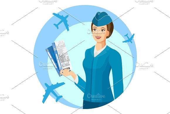 Smiling stewardess with air passage