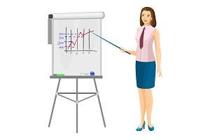 Business women near flip chart with