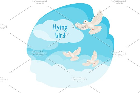 Clear sky with flying birds vector