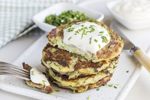Vegetarian zucchini fritters or panc