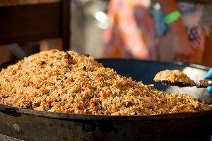 Uzbek pilaf at the festival of stree