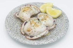 cuttlefish with lemon Isolated