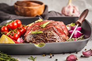 Sliced roast beef with spices